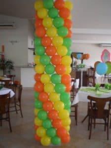 Como decorar una columna con globos vistosos y divertidos - Como decorar columnas ...