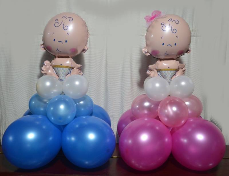 Como hacer adornos con globos para baby shower - Hacer decoraciones con globos ...